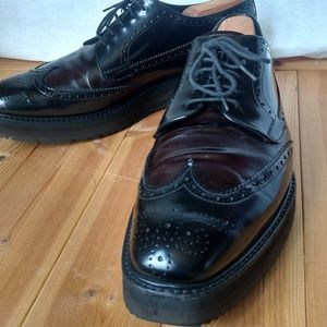 Men's PRADA Wing-Tip Platform 2 Tone Leather